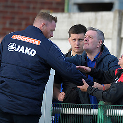 TELFORD COPYRIGHT MIKE SHERIDAN Gavin Cowan chats to angry Telkford fans at full time during the National League North fixture between Blyth Spartans and AFC Telford United at Croft Park on Saturday, September 28, 2019<br /> <br /> Picture credit: Mike Sheridan<br /> <br /> MS201920-023