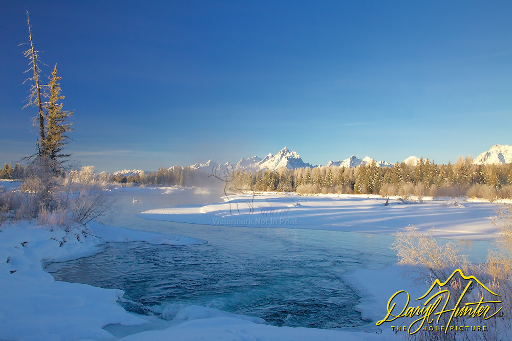 """Winter, Snake River, Grand Tetons, Grand Teton National Park<br /> <br /> For production prints or stock photos click the Purchase Print/License Photo Button in upper Right; for Fine Art """"Custom Prints"""" contact Daryl - 208-709-3250 or dh@greater-yellowstone.com"""