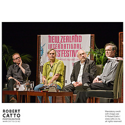 James Meek, Nigel Jamieson, Joseph Stiglitz, and Garry Trudeau discuss 'The Costs of Iraq' at a panel session with host John Campbell during the New Zealand International Arts Festival 2008 in Wellington.