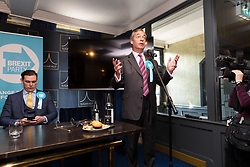 © Licensed to London News Pictures. 16/05/2019. Brentwood, Essex, UK.  Nigel Farage speaking at The Brexit Party campaign event held at the Sugar Hut in Brentwood, Essex. Photo credit: Vickie Flores/LNP