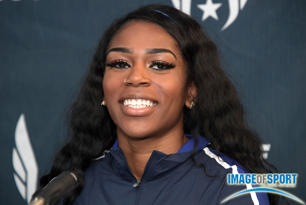 Apr 27, 2018; Philadelphia, PA, USA; Raeven Rogers (USA) poses at a USA vs. The World press conference during the 124th Penn Relays at Franklin Field.
