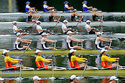 Lucerne, SWITZERLAND. GBR W4X- Bow, Annie VERNON, Debbie FLOOD, Frances HOUGHTON and Katherine GRAINGER, move away from the start ,at the 2008 FISA World Cup Regatta, Round 2.  Lake Rotsee, on Thursday,  30/05/2008.  [Mandatory Credit:  Peter Spurrier/Intersport Images].Lucerne International Regatta. Rowing Course, Lake Rottsee, Lucerne, SWITZERLAND.