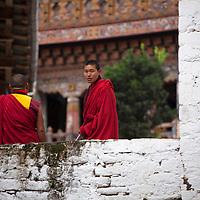 Asia, Bhutan, Trongsa. Monks of Trongsa Dzong