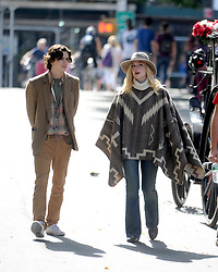 Elle Fanning and Timothee Chalamet on the set of Woody Allen's special project in New York City, NY, USA, September 26, 2017. Photo by Dennis Van Tine/ABACAPRESS.COM