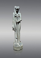 """Ancient Egyptian statue of goddess Sekhmet, grandodiorite, New Kingdom, 18th & 20thDynasty (1390-1150 BC), Thebes. Egyptian Museum, Turin. Grey Background.<br /> <br /> Sekhmet, """"the Powerful One"""" was a fearsome goddess symbolised by her lioness head. Daughter of the sun she personifies the disk of the world during the day. Sekhmet is the angry manifestation of Hathor inflicting the scourges of summer heat, famine and illness which is why the goddess needed to be exorcised every day. Drovetti Collection. C 255 .<br /> <br /> If you prefer to buy from our ALAMY PHOTO LIBRARY  Collection visit : https://www.alamy.com/portfolio/paul-williams-funkystock/ancient-egyptian-art-artefacts.html  . Type -   Turin   - into the LOWER SEARCH WITHIN GALLERY box. Refine search by adding background colour, subject etc<br /> <br /> Visit our ANCIENT WORLD PHOTO COLLECTIONS for more photos to download or buy as wall art prints https://funkystock.photoshelter.com/gallery-collection/Ancient-World-Art-Antiquities-Historic-Sites-Pictures-Images-of/C00006u26yqSkDOM"""