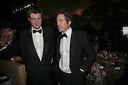 Zac Goldsmith and Hugh Grant, British Red Cross Ball, Waterloo. London. 16 November 2006.  TIME USE ONLY - DO NOT ARCHIVE  © Copyright Photograph by Dafydd Jones 66 Stockwell Park Rd. London SW9 0DA Tel 020 7733 0108 www.dafjones.com