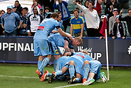 SYDNEY, NSW- NOVEMBER 21: Sydney FC celebrate the goal at the FFA Cup Final Soccer between Sydney FC and Adelaide United on November 21, 2017 at Allianz Stadium, Sydney. (Photo by Steven Markham/Icon Sportswire)