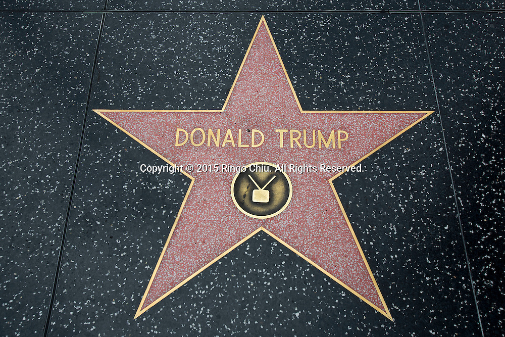 Donald Trump's star on the Hollywood Walk of Fame is seen on July 9, 2015 in Los Angeles, California.(Photo by Ringo Chiu/PHOTOFORMULA.com)
