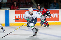 KELOWNA, CANADA - DECEMBER 7: Anthony Bishop #3 of the Seattle Thunderbirds skates against the Kelowna Rockets on December 7, 2016 at Prospera Place in Kelowna, British Columbia, Canada.  (Photo by Marissa Baecker/Shoot the Breeze)  *** Local Caption ***