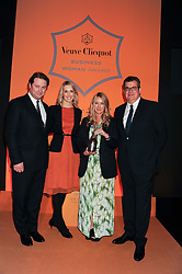 Left to right,  JO THORNTON MD Moet Hennessey UK. CHRISTINA JESAITIS, Winner of the Veuve Clicquot Business Woman of the Year Award ANYA HINDMARCH and JEAN-MARC LACAVE president of Veuve Clicquotat the annual Veuve Clicquot Business Woman of the Year Award this year celebrating it's 40th year, held at Claridge's, Brook Street, London on 18th April 2012.