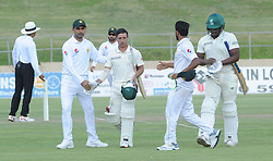 Johannesburg 19-12-18. South Africa Invitation XI vs Pakistan. Pakistan open their tour of South Africa with a three-day match at Sahara Willowmoore Park, Benoni. Day 1. Marques Ackerman is congratulated by the Pakistan team after getting his century during the late afternoon session.  Picture: Karen Sandison/African News Agency(ANA)