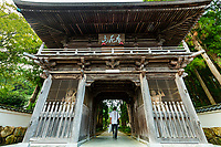 Tosa Kokubunji Temple Gate - Tosa Kokubunji is Temple 29 on the Shikoku Pilgrimage  - The temple's history goes back more than 1200 years. The temple was constructed under the direction of Gyoki in the year 741 set in lush yet silent woods. The temple was once called Konkomyo Tennou Gokokunotera as it served as a place of worship for peace and tranquility, good harvests and the well being of all. Kokubunji Temple was later revived by Koubo Daishi as a temple of the Shingon Buddhist sect.  In 1922 a historical mound was discovered, which led to the entire temple grounds being designated as a National Cultural Heritage site. Excavation surveys held within the temple grounds in 1977 led to the discovery of the remains of dwellings dating back to the Yayoi period. Various emperors have used the temple as a place of rest.