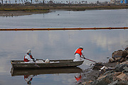 A cleanup crew mops up oil in the Talbert Marsh, home to many birds and wildlife. An estimated 127,000 gallons of crude oil leaked from an oil derrick pipeline in the Catalina Channel. The oil spread to nearby Huntington Beach beaches and wetlands, and quickly prompted cleanup crews to the scene. Orange County, California, USA