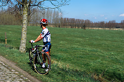 Worst possible moment for a puncture as the race heads for the hills -Ashleigh Moolman-Pasio - Women's Ronde van Vlaanderen 2016. A 141km road race starting and finishing in Oudenaarde, Belgium on April 3rd 2016.