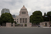 The Japanese government (DIET) building in Tokyo. Situated at 1-chome, Nagatacho, Chidoya ward in Tokyo the Japanese Diet building is where both houses of government meet. It is constructed of purely Japanese building materials and was completed in 1936. Nagatacho Tokyo, Japan. Friday June 29th 2012.