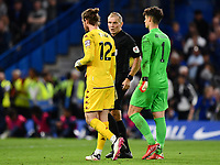 Football - 2021 / 2022 EFL Carabao League Cup - Round Three - Chelsea vs Aston Villa - Stamford Bridge - Wednesday 22nd September 2021<br /> <br /> Referee Graham Scott has words before the shoot out with Jed Steer and Kepa Arrizabalaga.<br /> <br /> COLORSPORT/Ashley Western
