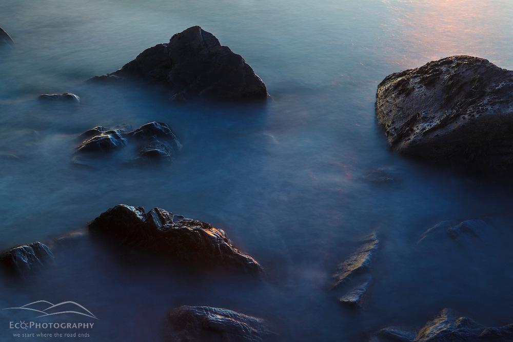 Morning surf and rocks, Wallis Sands State Park, Rye, NH.