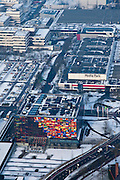 Nederland, Noord-Holland, Hilversum, 07-01-2010; Media Park en .Nederlands Instituut voor Beeld en Geluid in de winter en met sneeuw.luchtfoto (toeslag), aerial photo (additional fee required).foto/photo Siebe Swart