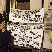 On the steps of St Paul's Cathedral. The London Stock Exchange was attempted occypied in solidarity with Occupy Wall in Street in New York and in protest againts the economic climate, blamed by many on the banks. Police managed to keep people away fro the Patornoster Sqaure and the Stcok Exchange and thousands of protestors stayid in St. Paul's Square, outside St Paul's Cathedral. Many camped getting ready to spend the night in the square.