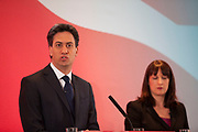 London, UK. Wednesday 29th April 2015. Labour Party Leader Ed Miliband and Shadow Secretary of State for Work and Pensions Rachel Reeves at a General Election 2015 campaign event on the Tory threat to family finances, entitled: The Tories' Secret Plan. Held at the Royal Institute of British Architects.