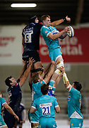 Warriors lock Justin Clegg collects a line-out ahead of Sale Sharks lock JP Du Preez during the Gallagher Premiership match Sale Sharks -V- Worcester Warriors at The AJ Bell Stadium, Greater Manchester,England United Kingdom, Friday, January 08, 2021. (Steve Flynn/Image of Sport)