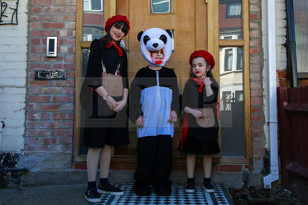 © Licensed to London News Pictures. 26/02/2021. London, UK. Orthodox Jewish children in fancy dress celebrate the festival of Purim in Stamford Hill, north London, during the Covid-19 lockdown. Purim is one of the most entertaining Jewish holidays. It commemorates the time when the Jewish people living in Persia were saved from massacre by Haman. It is customary to hold carnival-like celebrations on Purim. Stamford Hill in north London has the largest number of ultra-orthodox Charedi Hasidic Jews in Europe. Photo credit: Dinendra Haria/LNP