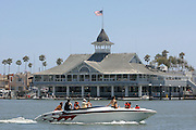 Family Boating in Newport Harbor in front of Pavilion