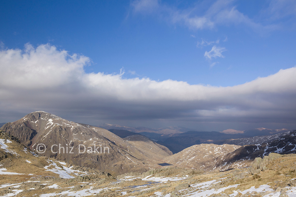 View across to Great Gable and Borrowdale over the Lingmell Col from Scafell Pike