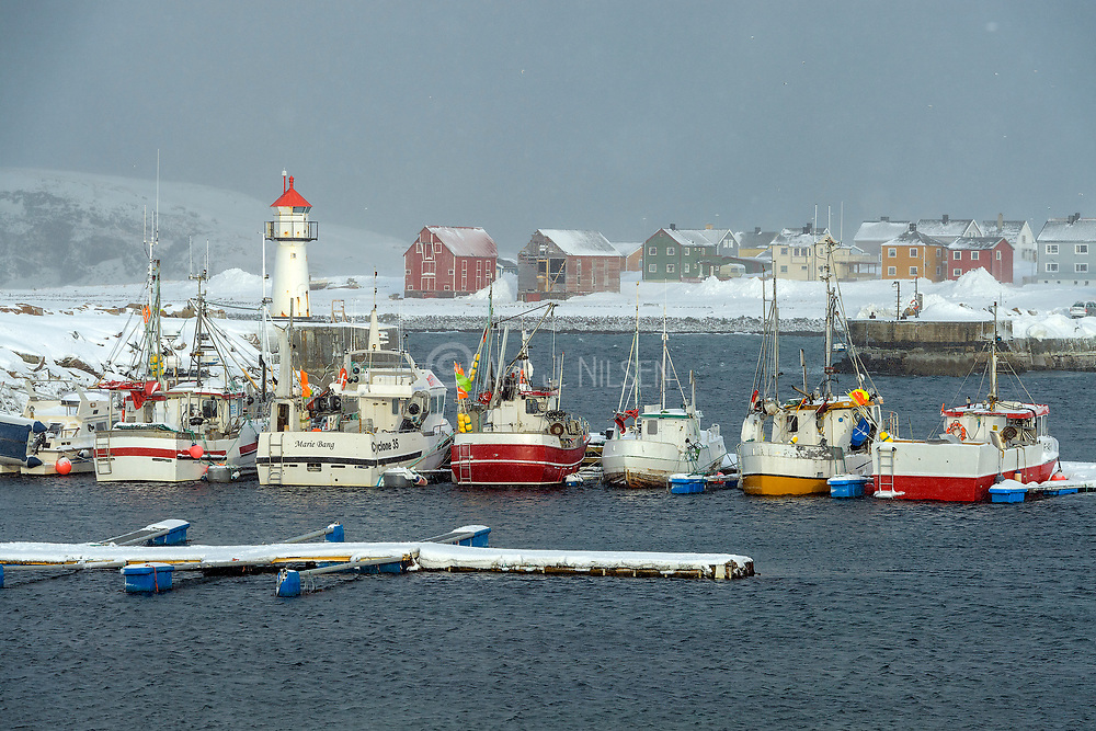 Fishing boats in Vardö Harbor, Finnmark, Norway in March.