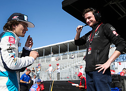 March 9, 2019 - St. Petersburg, Florida, U.S. - DIRK SHADD   |   Times  .IndyCar team co-owner George Steinbrenner IV (on right), with Harding Steinbrenner Racing, talks with his driver Colton Herta in their pit box before Herta takes to the track an IndyCar practice session at the Grand Prix of St. Petersburg in St. Petersburg on Saturday, March 9, 2019. (Credit Image: © Dirk Shadd/Tampa Bay Times via ZUMA Wire)