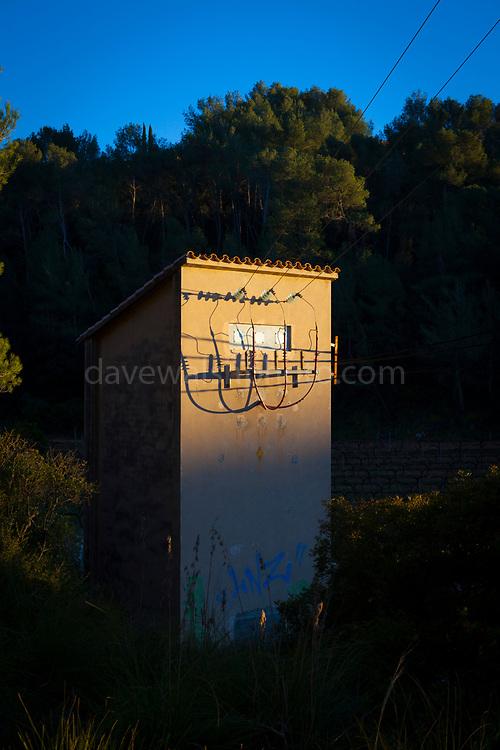 Electricity supply installation. Olivella, Parc Natural de Garraf, Catalonia, Spain