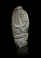Late European Neolithic prehistoric Menhir standing stone with carvings on its face side. The representation of a stylalised male figure starts at the top with a long nose from which 2 eyebrows arch around the top of the stone. below this is a carving of a falling figure with head at the bottom and 2 curved arms encircling a body above. at the bottom is a carving of a dagger running horizontally across the menhir.  Excavated from Barrili II site,  Laconi. Menhir Museum, Museo della Statuaria Prehistorica in Sardegna, Museum of Prehoistoric Sardinian Statues, Palazzo Aymerich, Laconi, Sardinia, Italy. Black background. .<br /> <br /> Visit our PREHISTORIC PLACES PHOTO COLLECTIONS for more photos to download or buy as prints https://funkystock.photoshelter.com/gallery-collection/Prehistoric-Neolithic-Sites-Art-Artefacts-Pictures-Photos/C0000tfxw63zrUT4