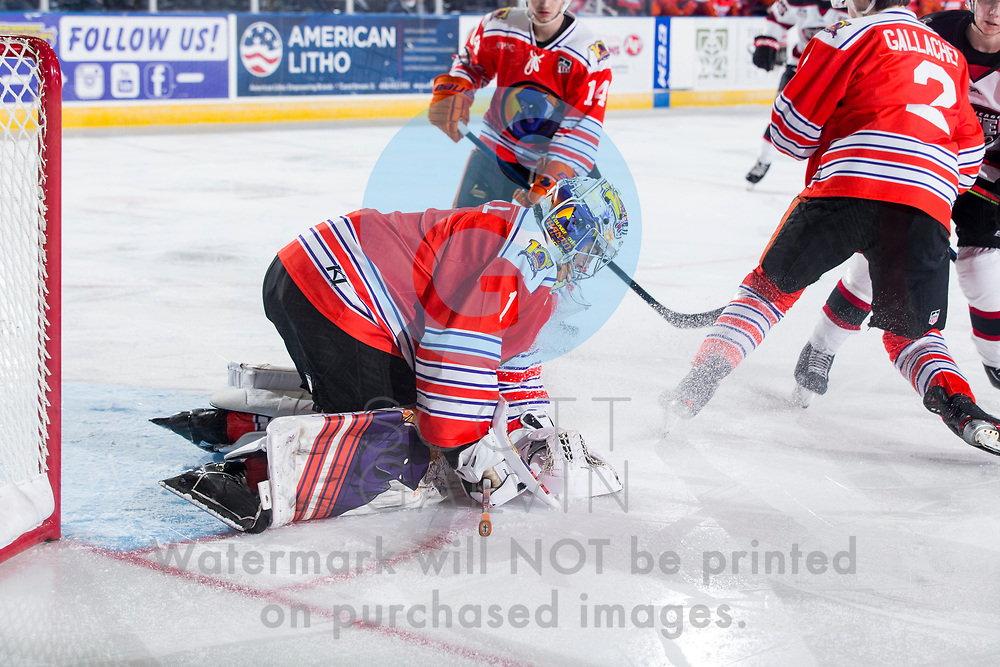 The Youngstown Phantoms lose 5-4 in overtime to the Chicago Steel at the Covelli Centre on February 26, 2020.<br /> <br /> Colin Purcell, goalie, 1