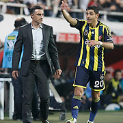 Besiktas's coach Tayfur Havutcu (L) and Fenerbahce's Ozer Hurmaci (R) during their Turkish Superleague SuperFinal Derby match Besiktas between Fenerbahce at the Inonu Stadium at Dolmabahce in Istanbul Turkey on Thursday, 03 May 2012. Photo by TURKPIX