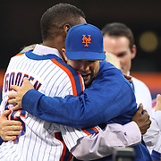 NEW YORK, NEW YORK - May 28: David Wright embraces Dwight Gooden during the anniversary celebration of the 1986 World Championship team before the Los Angeles Dodgers Vs New York Mets regular season MLB game at Citi Field on May 28, 2016 in New York City. (Photo by Tim Clayton/Corbis via Getty Images)