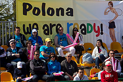 Fans of PolonaHercog of Slovenia during the first day of the tennis Fed Cup match between Slovenia and Canada at Bonifika, on April 16, 2011 in Koper, Slovenia.  (Photo by Vid Ponikvar / Sportida)