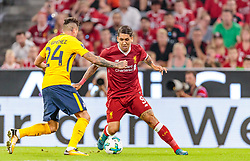 02.08.2017, Allianz Arena, Muenchen, GER, Audi Cup, FC Liverpool vs Atletico Madrid, Finale, im Bild Jose Maria Gimenez (Atletico Madrid), Roberto Firmino (FC Liverpool) // during the Audi Cup Final Match between FC Liverpool and Atletico Madrid at the Allianz Arena, Munich, Germany on 2017/08/02. EXPA Pictures © 2017, PhotoCredit: EXPA/ JFK