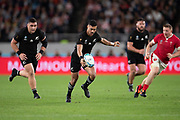 Richie Mo'unga of New Zealand kicks the ball during the Rugby World Cup bronze final match between New Zealand and Wales,  Friday, Nov, 1, 2019, in Tokyo. New Zealand defeated Wales 40-17. ( Flor Tan Jun/Espa-Images-Image of Sport)