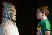NO FEE PICTURES<br /> 3/7/14 Sam Duffy, age 8, Armagh at the grand opening of Terracotta Warriors (The Terracotta army of the first Emporer of China), at the Ambassador Theatre, open from the 4th July. in Dublin.Tickets on sale from Ticketmaster and venue box office. Picture: Arthur Carron