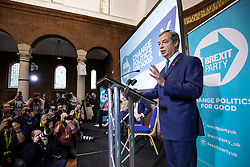 © Licensed to London News Pictures. 01/11/2019. London, UK. Nigel Farage speaking at Emmanuel Centre in Westminster at a Brexit Party event about the general election campaign. Photo credit: Rob Pinney/LNP