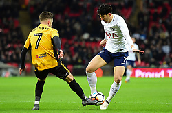Son Heung-Min of Tottenham Hotspur is tackled by Robbie Willmott of Newport County - Mandatory by-line: Alex James/JMP - 07/02/2018 - FOOTBALL - Wembley Stadium - London, England - Tottenham Hotspur v Newport County - Emirates FA Cup fourth round proper