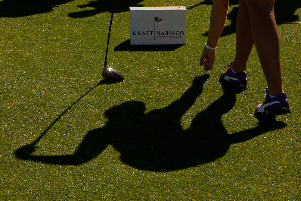 RANCHO MIRAGE, CA - APRIL 1: Anna Nordqvist of Sweden tees her ball up during the second round of the 2011 Kraft Nabisco Championship at Mission Hills Country Club in Rancho Mirage, California on April 1, 2011. (Photograph ©2011 Darren Carroll) *** Local Caption *** Anna Nordqvist