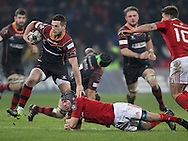 Jason Tovey of the Newport Gwent Dragons (l) is tackled by Duncan Williams of Munster .<br /> Guinness Pro12 rugby match, Munster v Newport Gwent Dragons at Thomond Park in Limerick , Ireland on Saturday 5th March 2016.<br /> pic by  John Halas, Andrew Orchard sports photography.