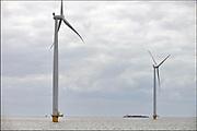 Nederland, the Netherlands, Urk, 9-5-2017 NOP Agrowind, energiebedrijf RWE Essent en Westermeerwind exploiteren een windpark op land en in het water van het IJsselmeer. De stroomproducent bouwde hier windmolens die 5 megawatt op land, en 3 megawatt op zee produceren. Siemens leverde turbines. Een binnenvaartschip geladen met containers vaart richting afsluitdijk. FOTO: FLIP FRANSSEN