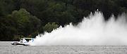 Driver Dave Villwock pilots the Spirit of Qatar hydroplane for a test run on Lake Washington. (Greg Gilbert / The Seattle Times, 2011)