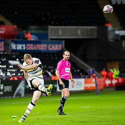 Ryan Mills of Worcester Warriors attempts a kick at goal<br /> <br /> Photographer Simon King/Replay Images<br /> <br /> European Rugby Challenge Cup Round 5 - Ospreys v Worcester Warriors - Saturday 12th January 2019 - Liberty Stadium - Swansea<br /> <br /> World Copyright © Replay Images . All rights reserved. info@replayimages.co.uk - http://replayimages.co.uk