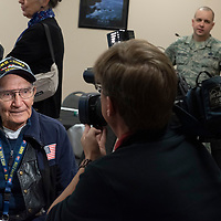 Gallup resident Lawrence Talamante, 94, a Naval Veteran who served in World War II and Korea, is interviewed before the Honor Flights departure to D.C. from the Albuquerque International Sunport in Albuquerque Jun. 05