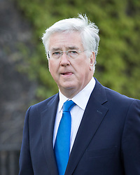 © Licensed to London News Pictures.18/04/2017.London, UK. Defence Secretary Michael Fallon talks to reporters near Parliament. British Prime Minister Thersea May has called a surprise general election for June 8 th.Photo credit: Peter Macdiarmid/LNP