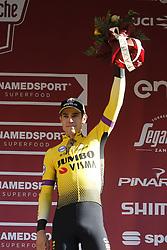 March 9, 2019 - Siena, Italy - Third Belgian Wout Van Aert of Team Jumbo-Visma celebrates on the podium of the Strade Bianche one day cycling race in Siena, Italy, Saturday 09 March 2019...BELGA PHOTO YUZURU SUNADA (Credit Image: © Yuzuru Sunada/Belga via ZUMA Press)