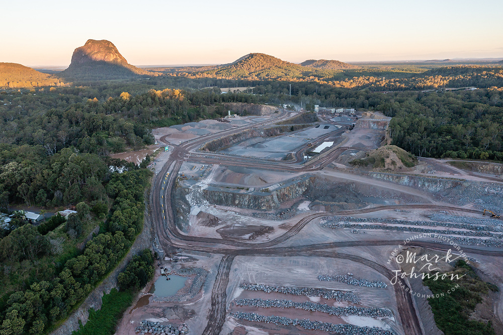 Queensland, Australia-13 June 2021: Aerial view of Hanson Glasshouse Quarry, Glass House Mountains, Sunshine Coast Hinterland, Queensland, Australia
